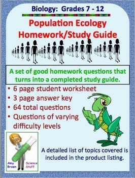 Population Ecology Homework and Study Guide | Study guides ...