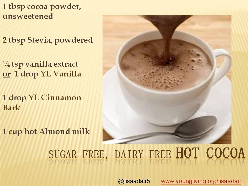 Time to warm up on winter nights with Hot Cocoa that is sugar-free and uses Young Living Essential oils for delicious flavoring.  Follow my twitter @lisaadair5