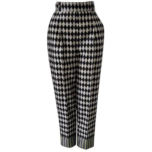 Preowned Extremely Rare Gianni Versace Silk Harlequin Print Pants (5.202.005 COP) ❤ liked on Polyvore featuring pants, multiple, silk print pants, patterned pants, patterned trousers, silk trousers and versace trousers