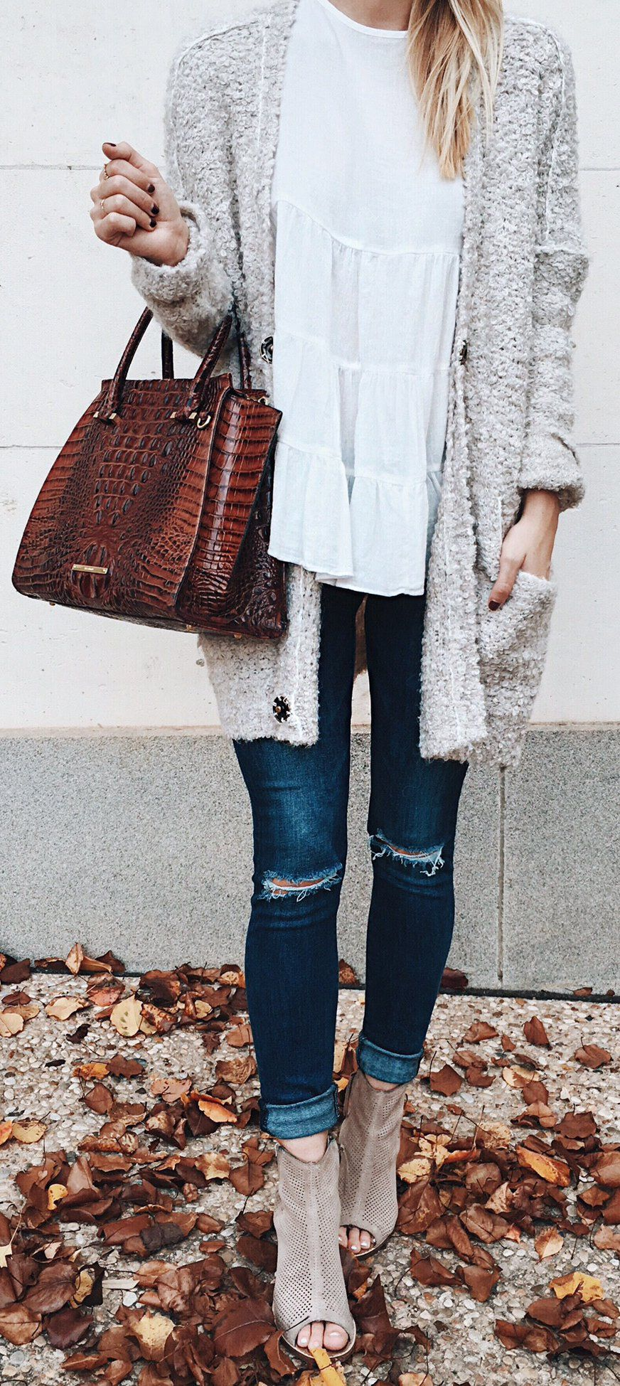 f72f876655f Grey Cardigan   White Top   Ripped Skinny Jeans   Grey Open Toe Booties    Brown Leather Tote Bag