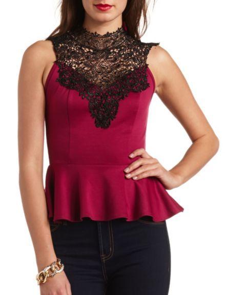 904fef9a4b005 Crochet Lace Mock Neck Peplum Top  Charlotte Russe