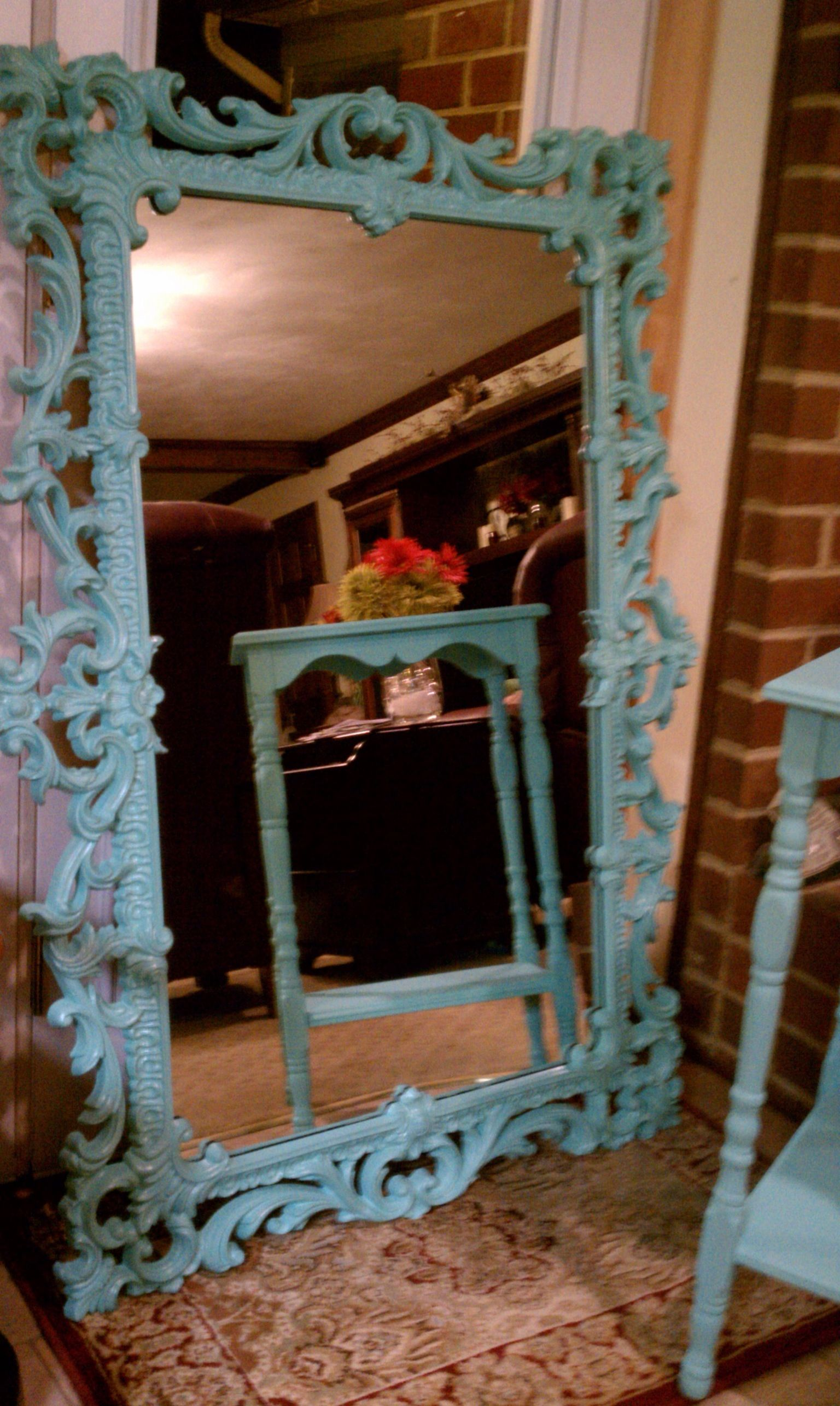 Brianas Painted Mirror Frame And Side Table (Tiffany Blue) Original