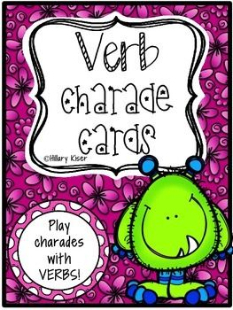 These Are Bright And Wonderful Verb Cards With A Monster Theme