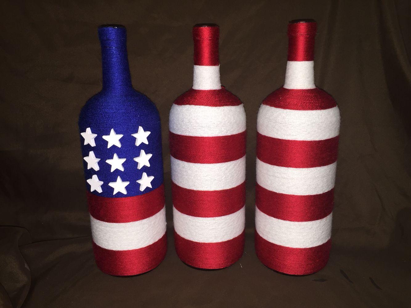 American Flag Wine Bottles Bottle Crafts Wine Bottle Crafts Painted Wine Bottles