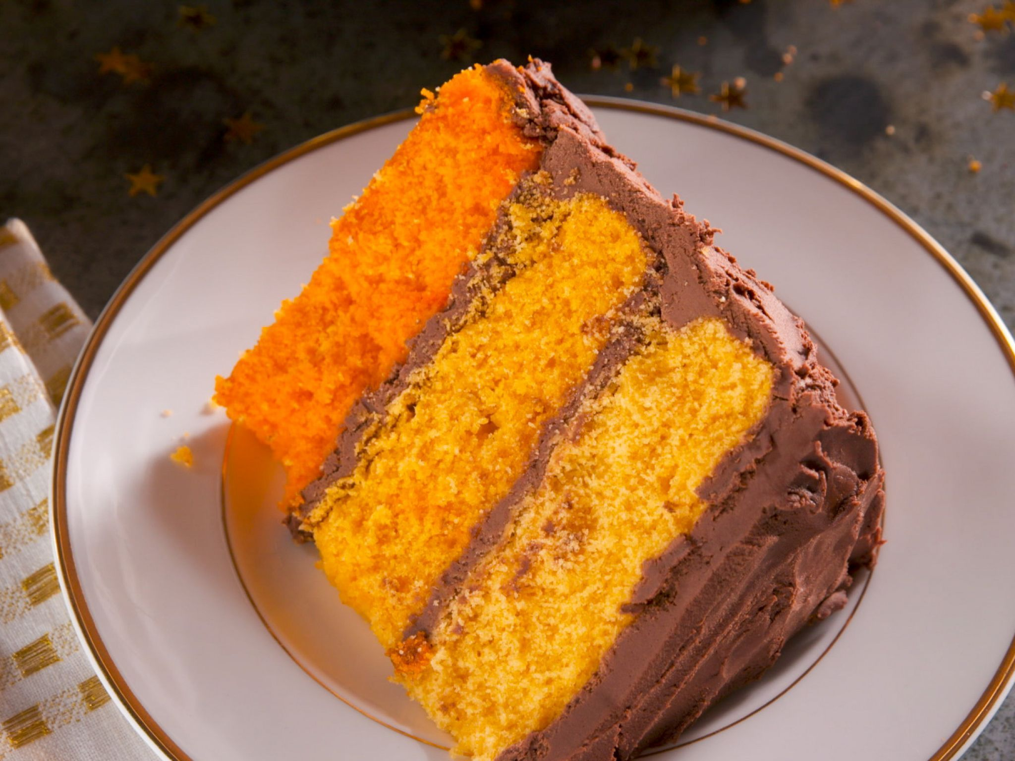 Awe Inspiring Orange Ombre Birthday Cake With Chocolate Frosting Recipe With Birthday Cards Printable Trancafe Filternl