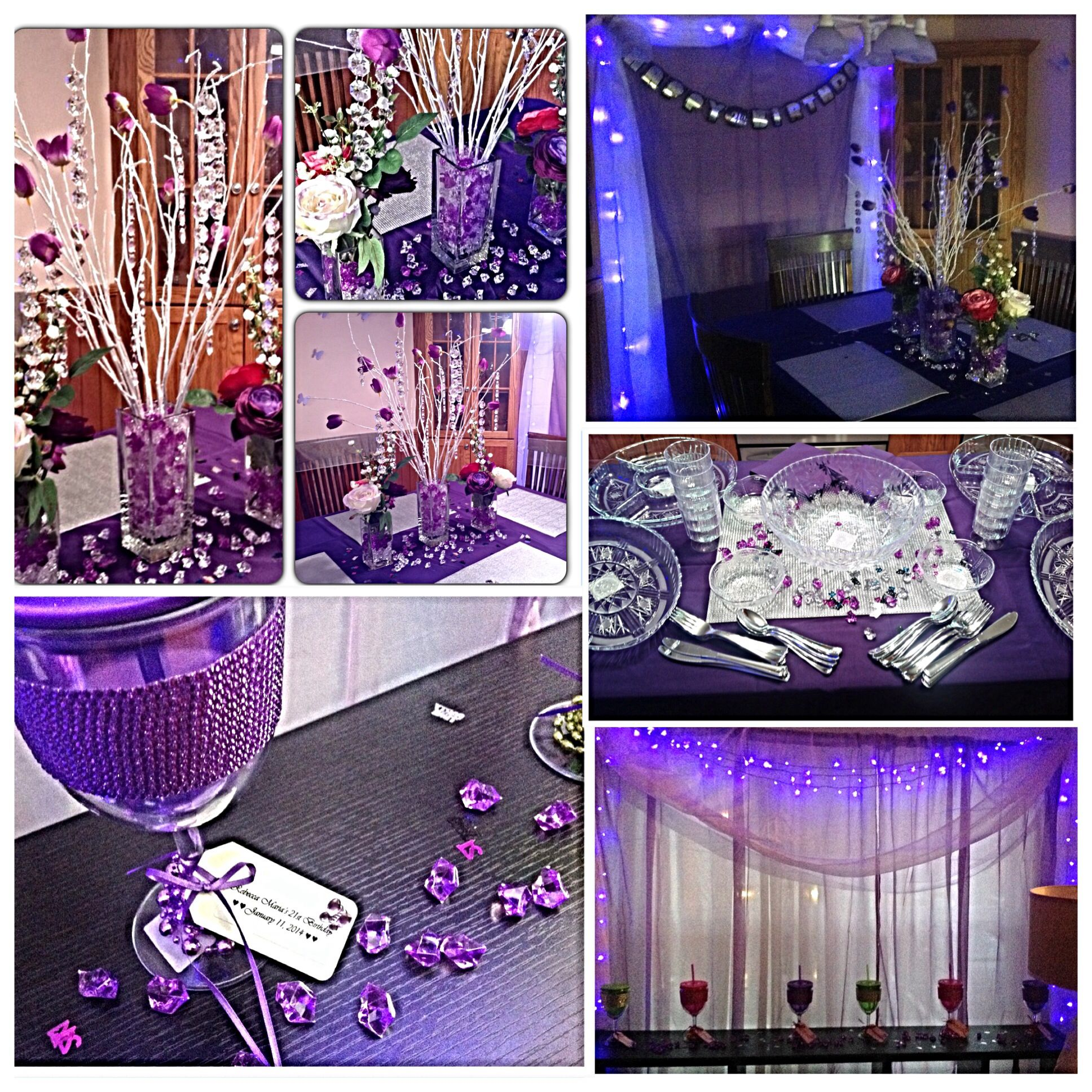 Purple Themed 21st Birthday Party Looked Like A Nightclub With The Lights Off And String On Windows Had Sheer Lavender Panels White
