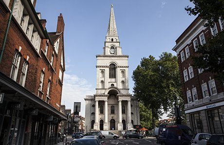 The front aspect of Hawksmoor's Spitalfields church. Photograph: Antonio Olmos
