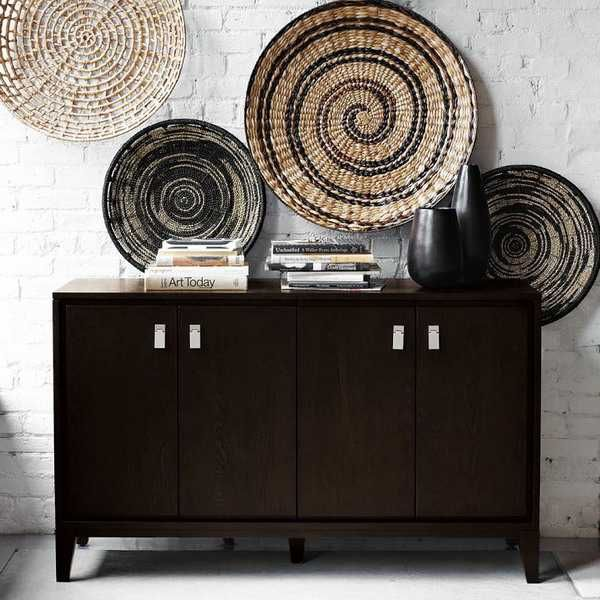 Modern Wall Decoration With Ethnic Wicker Plates, Bowls and ...
