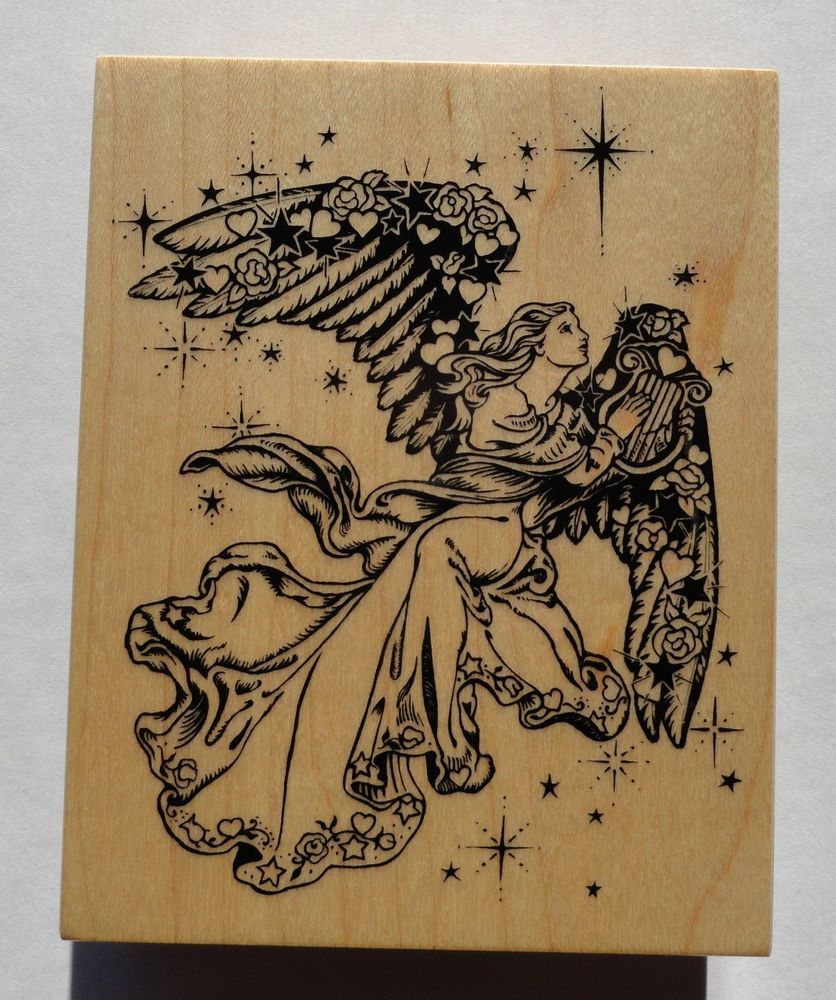 1994 PSX Rubber Stamp K-1332 Angel in the Stars Playing a Harp #PSX