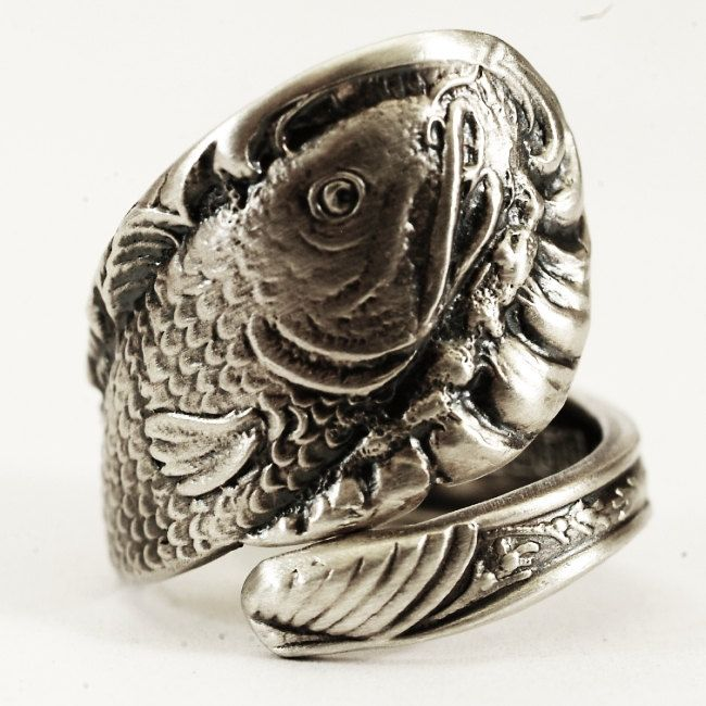 Fish Ring Spoon Ring Sterling Silver Fishing Gifts Fish Jewelry