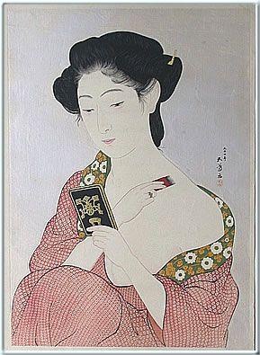 1. 橋口 五葉 (1880-1921)  2. 化粧の女  3. 大正7年 (1918)