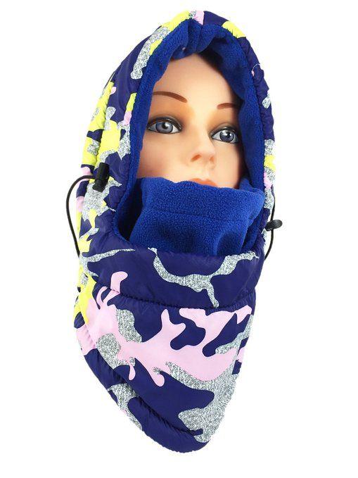 Women's Fleece Balaclava Hooded Face Mask Neck Warmer Ski Hood Snowboard Mask Wind Protector (Blue Camouflage) at Amazon Women's Clothing store:
