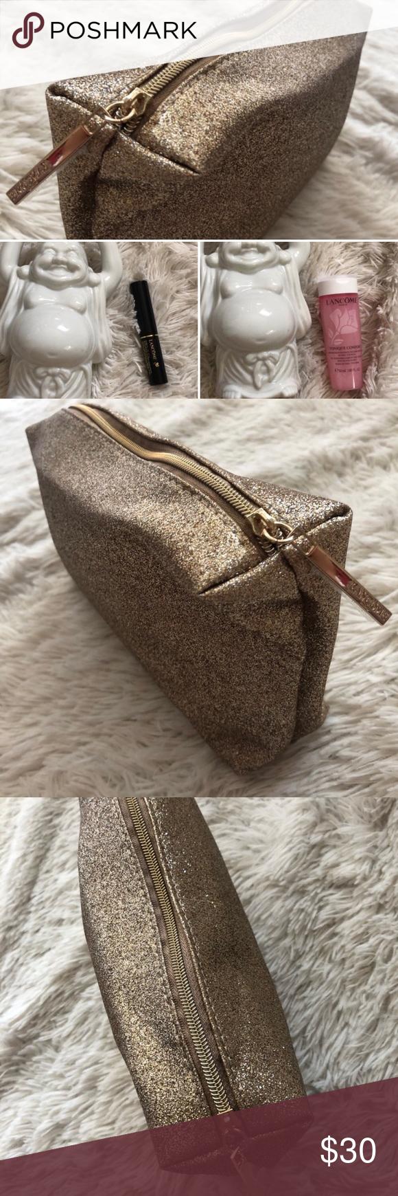 Lancôme gold glitter makeup case/ clutch NWT Makeup case