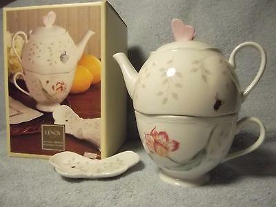 NIB Lenox Stackable Teapot Cup & Bag Holder-BUTTERFLY MEADOW-Lifetime Guar. Gift