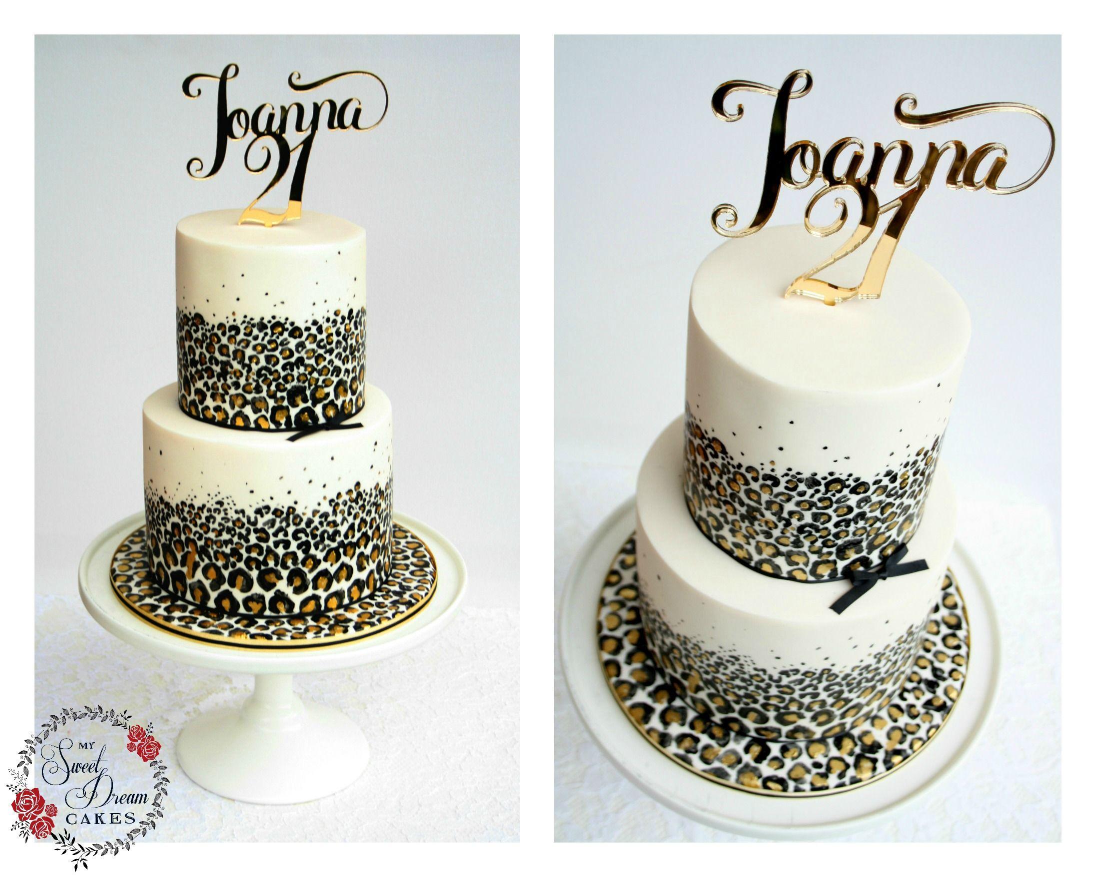 Black White And Gold Leopard Print Celebration Cake