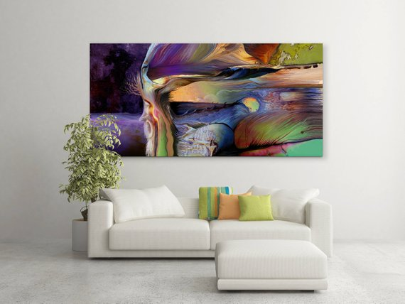 Large Abstract Panoramic Print Of Painting 63 X 31 Panoramic