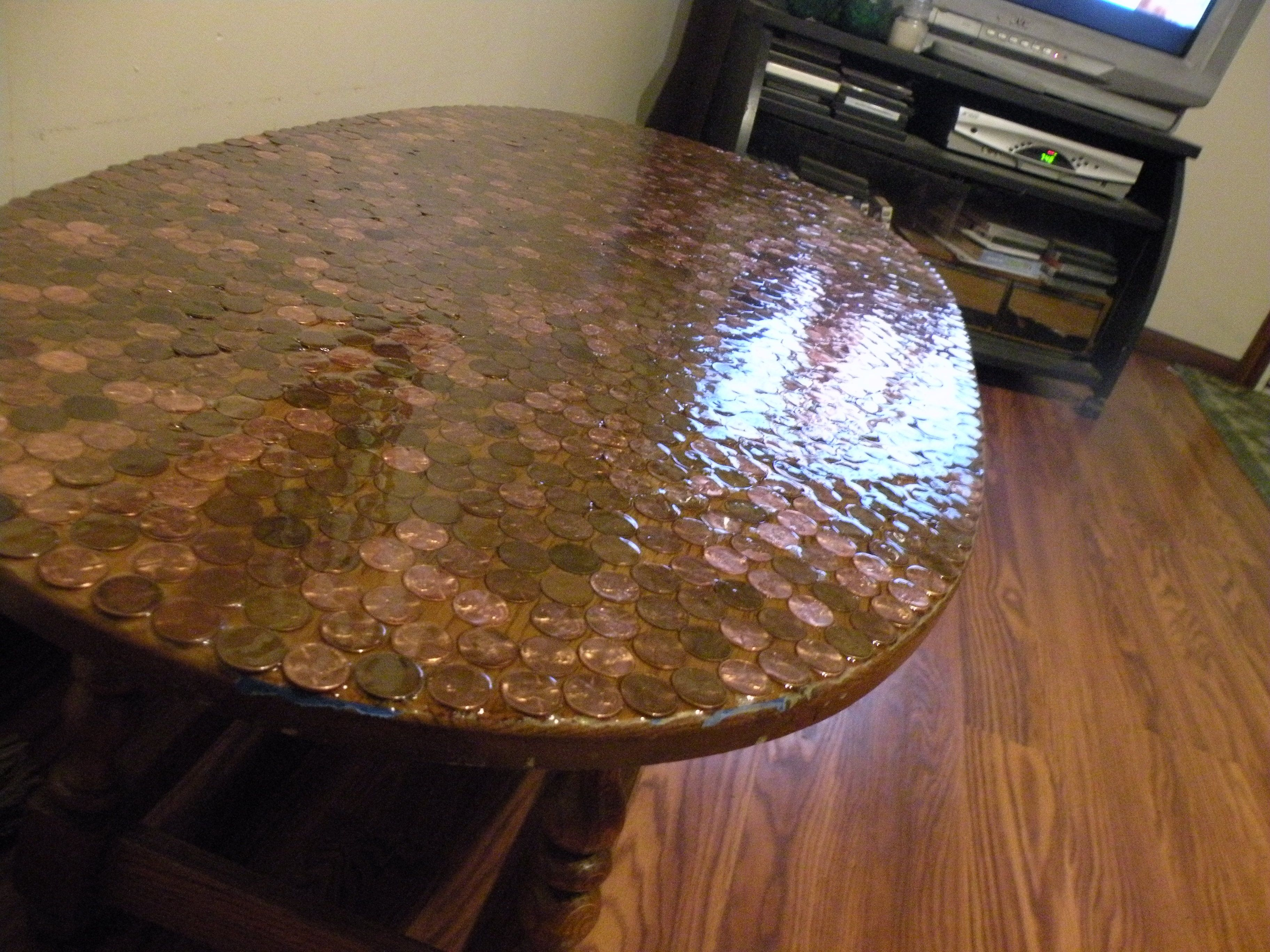 My Penny Table With A Beautiful Polyurethane Top!