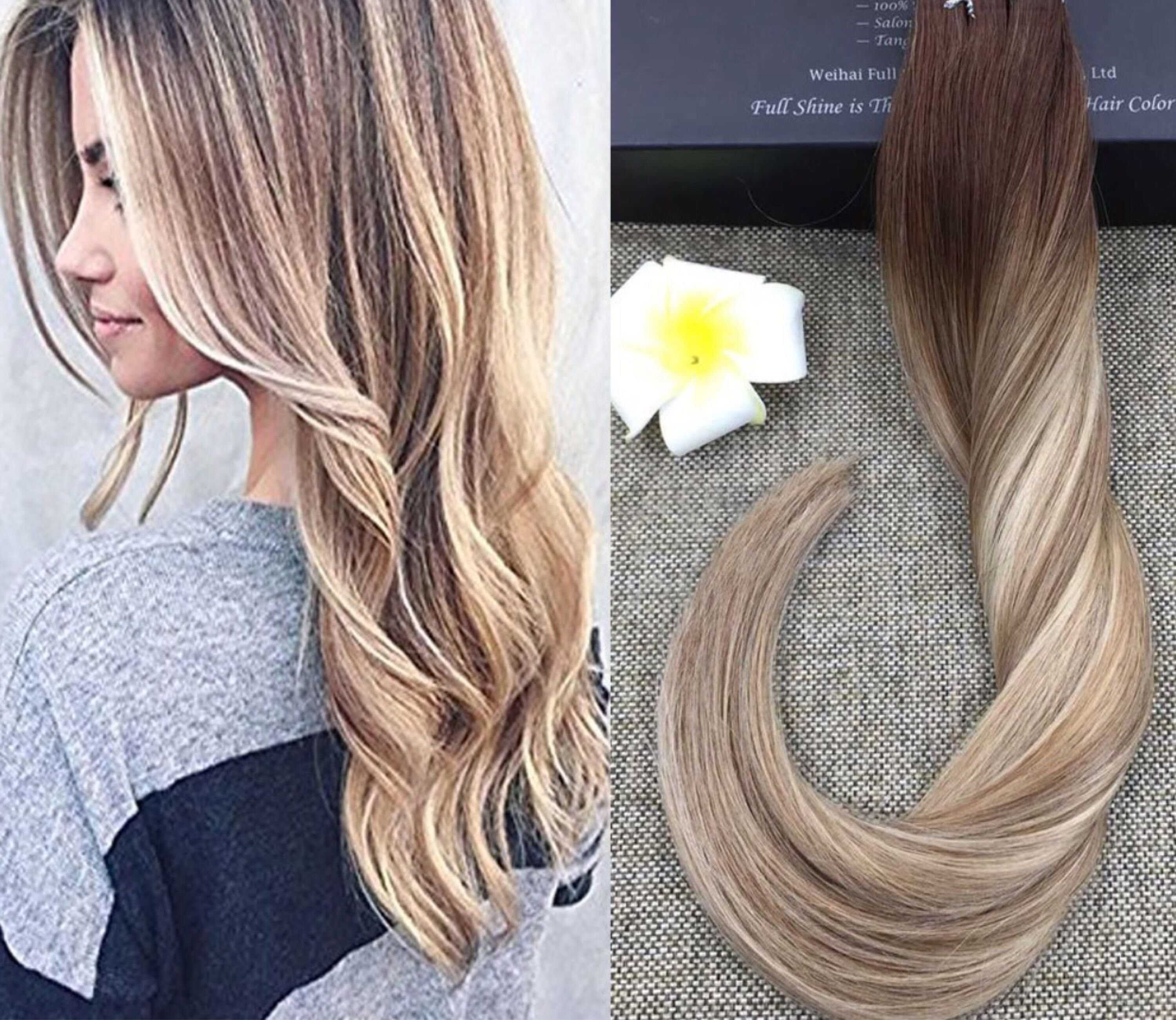 100 human hair 20 extensions clip in or tape in shadow root full shine 18 inch tape in extensions glue on hair extensions dark brown color fading to and blonde highlighted hair pmusecretfo Image collections
