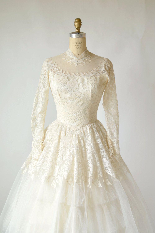 RESERVED --- 1950s Tea Length Wedding Dress --- Vintage ...