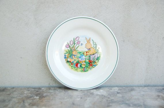 Vintage Easter plate with bunny painting - German dinner children plate - spring plate kitchen retro & Vintage Easter plate with bunny painting - German dinner children ...