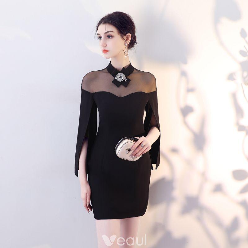 705c0f802 Modest   Simple Black See-through Evening Dresses 2018 High Neck Amazing    Unique Long Sleeve Short Formal Dresses