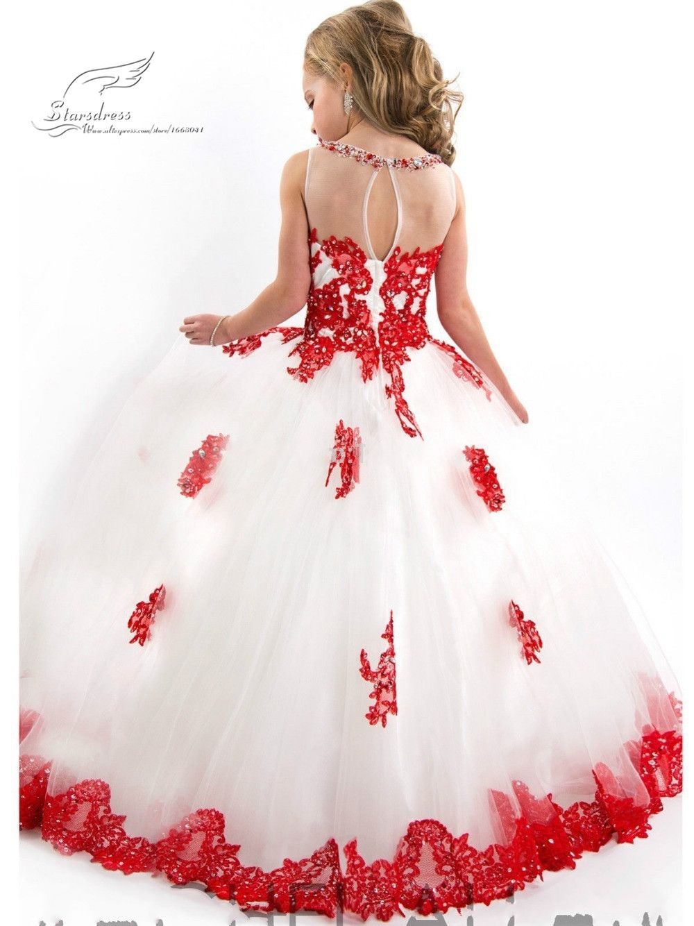 2015 New Arrival Little Girl Ball Gown Scoop Appliqued Glitz Pageant ...
