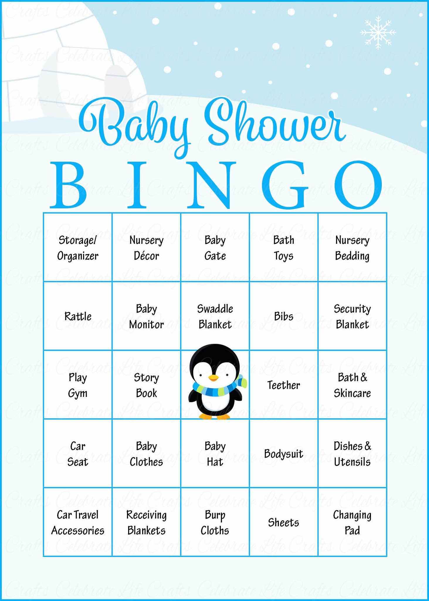 Winter Baby Bingo Cards Printable Download Prefilled Baby