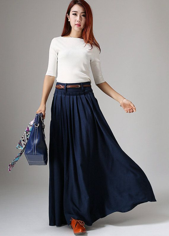 5433474ce0e2 Get dressed and out of the door in classic good looks with this navy blue  pleated