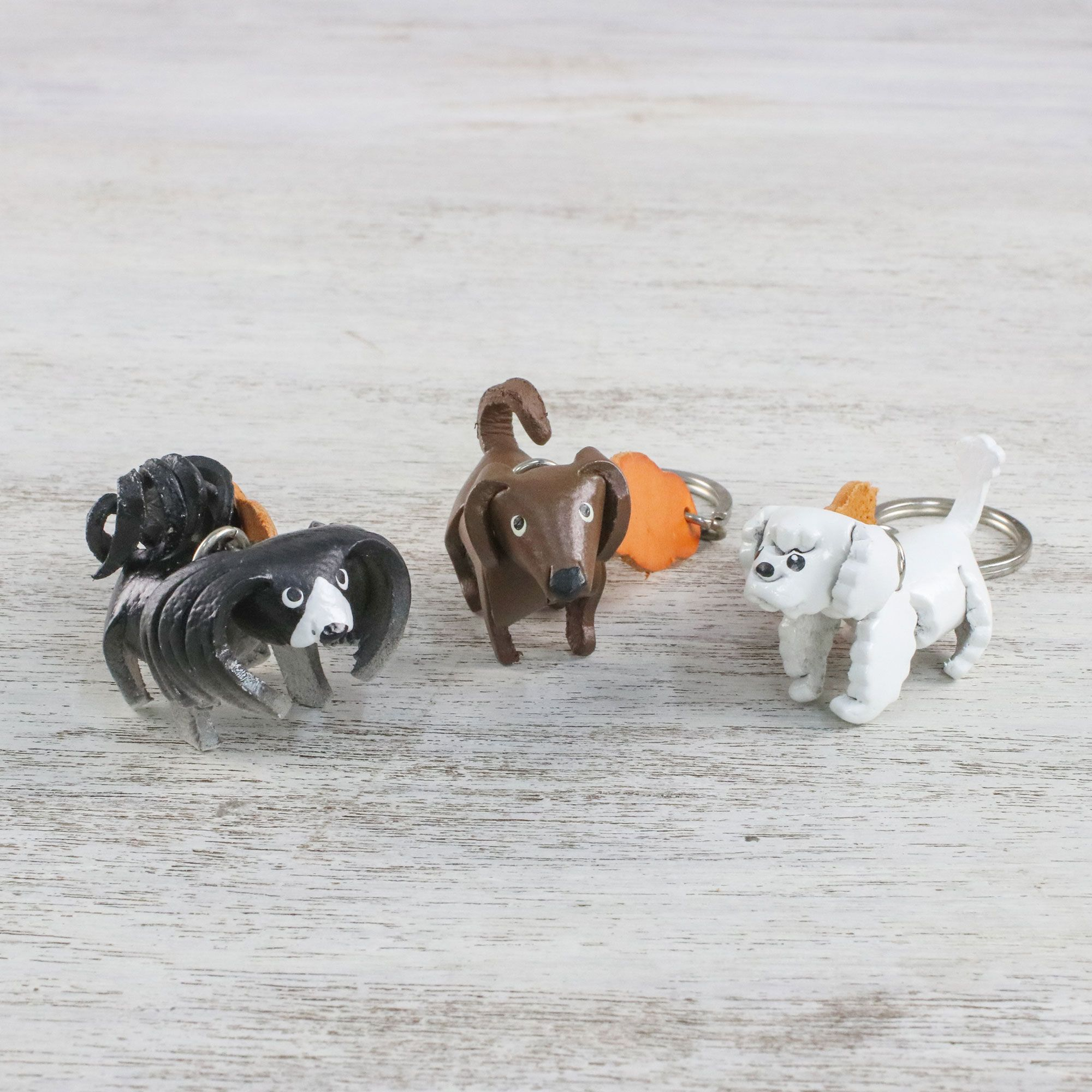 shih tzu daschund thai shih tzu leather poodle dachshund keychains set of 3 8843