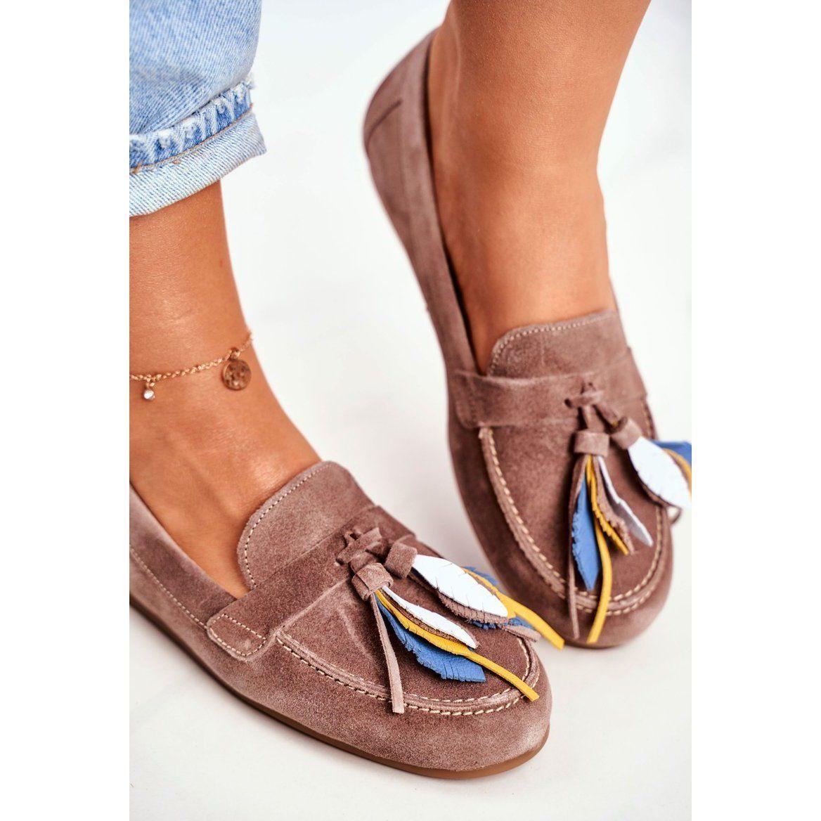 Damskie Mokasyny Maciejka Skorzane Bezowe 04494 04 00 5 Bezowy Loafers Shoes Mule Shoe