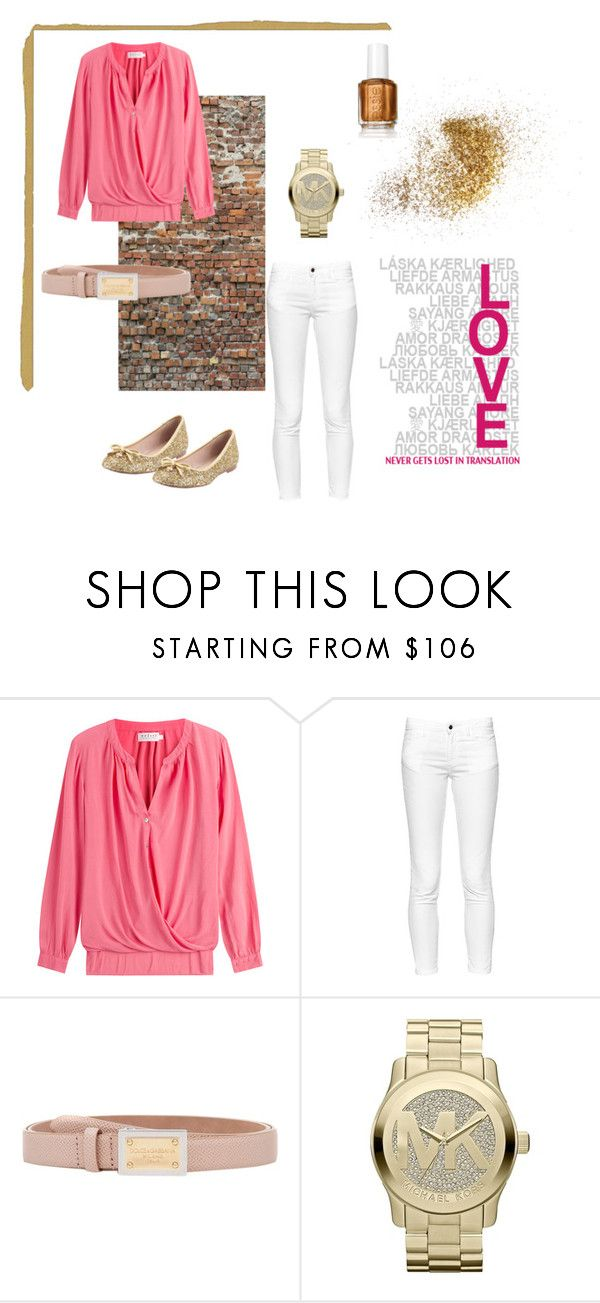 """""""pink and gold"""" by kaitlyn-obrien ❤ liked on Polyvore featuring Komar, Velvet, French Connection, Dolce&Gabbana, MICHAEL Michael Kors and Kate Spade"""