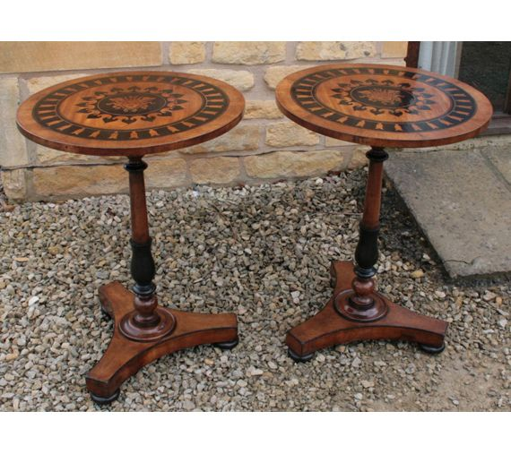A Pair of 19th Century Italian Fruitwood Tables inlaid with Medusa Masks