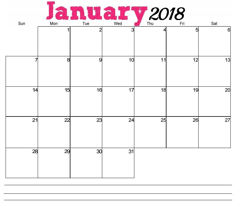 January 2018 Horizontal Calendar Calendar Pinterest Free - countdown calendar template