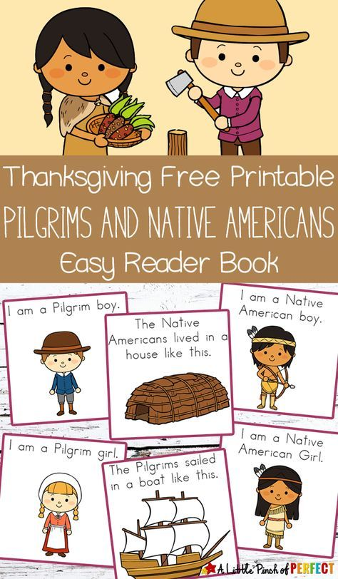 Thanksgiving Free Printable Easy Reader Book: Pilgrims and Native Americans -