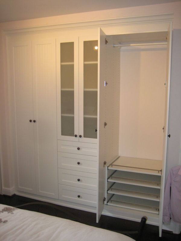 Charmant Bedroom Wall Closet. IKEA LANSA Handles And Other Cabinet Fittings.  Probably Uses Drawer Front As Shelf.