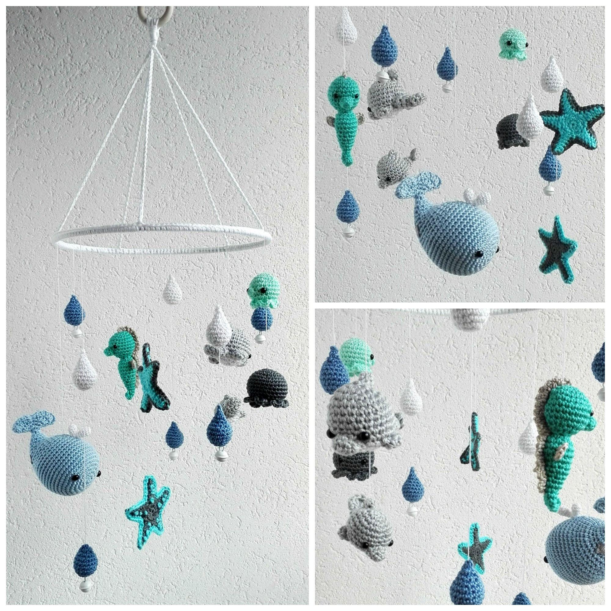 Baby Mobile Gehäkelt Mit Meerestieren Embroidery Pinterest