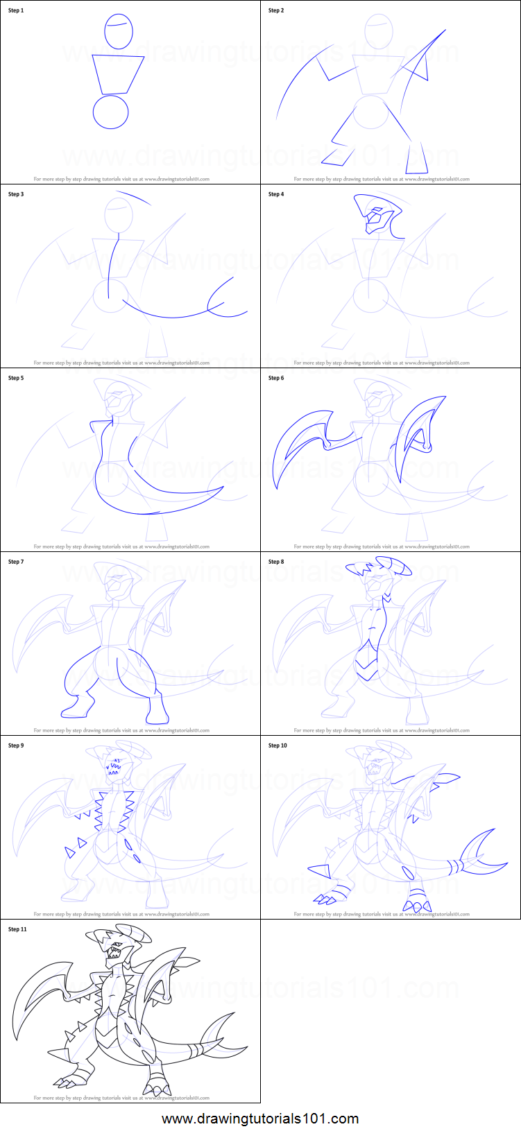How to Draw Garchomp from Pokemon printable step by step ...