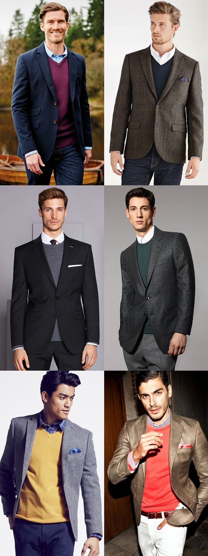 Autumn Winter Layering Combination Men S Shirt Jumper And Blazer