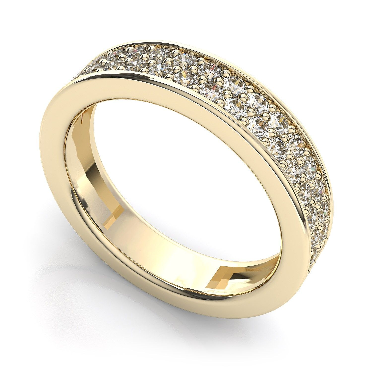 Women's full eternity ring set with two rows of diamonds