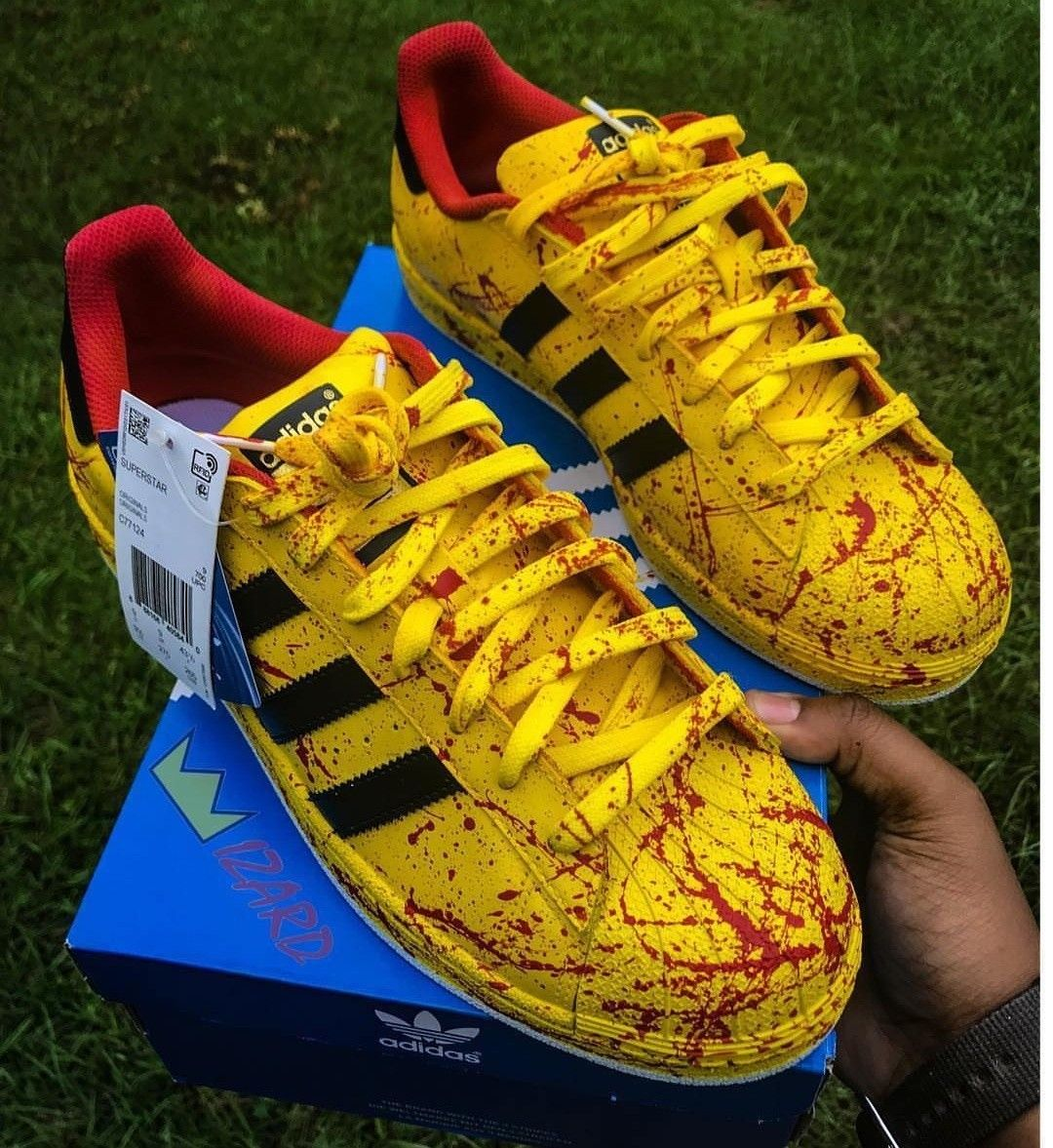 c1360e7ea96 These custom painted adidas sneakers remind me of kill bill.  adidas   adidassneaker