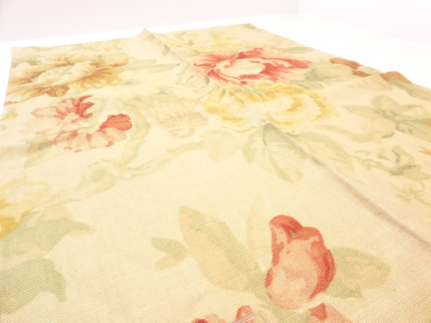 """Floral Fabric Mulberry Fabrics 25"""" x 18"""" Tintagel Sand Red Linen Nylon + Free Samples by Fabricsamples10 on Etsy"""