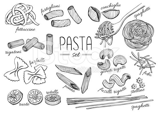 Vector Hand Drawn Pasta Set Vintage Line Art Illustration How To Draw Hands Pasta Drawing Line Art