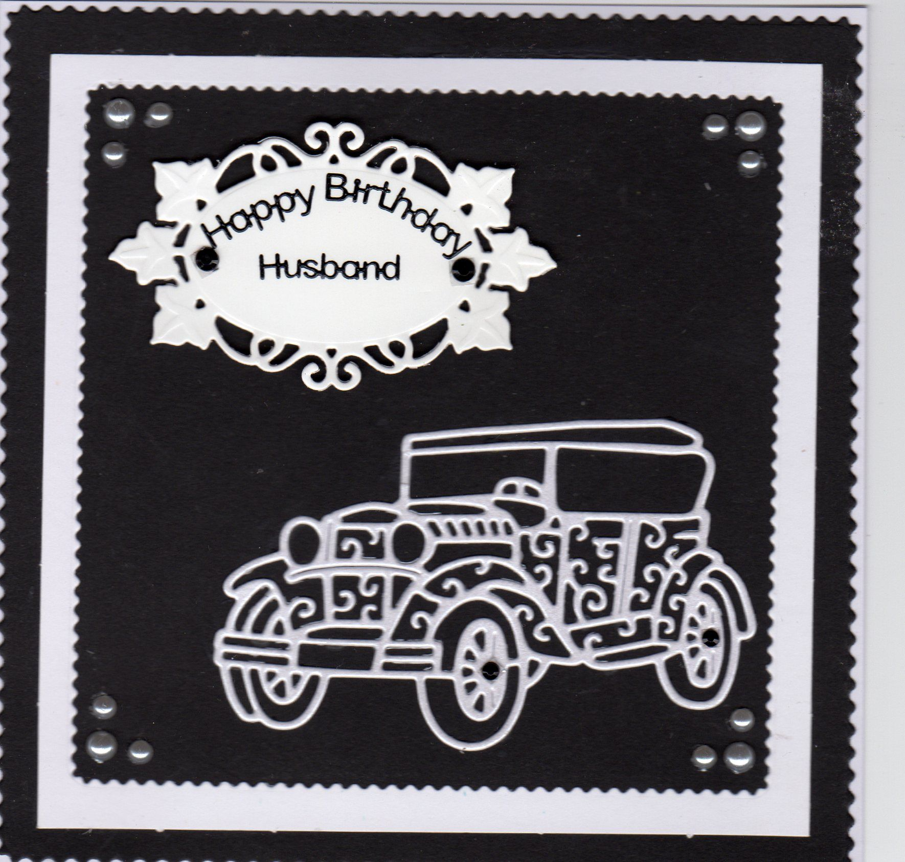 Birthday card for Husband using tattered lace vintage car, the tag ...