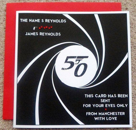 Handmade Personalised James Bond 007 Birthday Card Any Age James Bond James Bond Theme Party Birthday Cards
