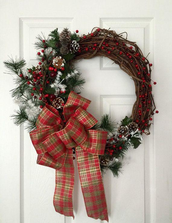 Grapevine Christmas Wreath, Red Plaid Christmas Wreath, Cranberry