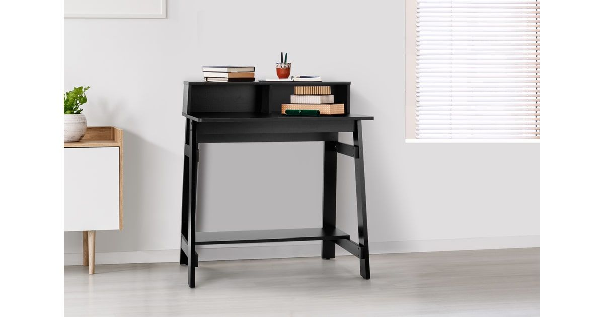 Shangri La Compact Office Desk Black Desks In 2020 Compact Office Desk Black Desk Desk