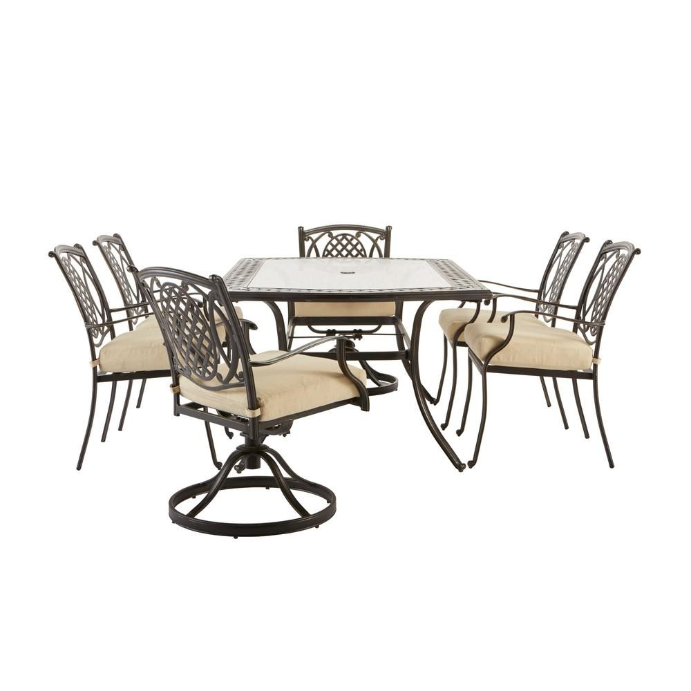 Hampton Bay Belcourt 10 Piece Metal Outdoor Dining Set with ...