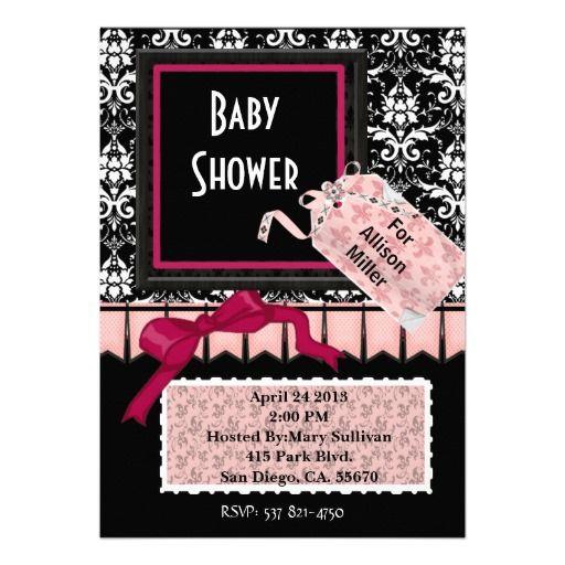 Damask elegant pink black baby shower invitation baby shower damask elegant pink black baby shower invitation filmwisefo