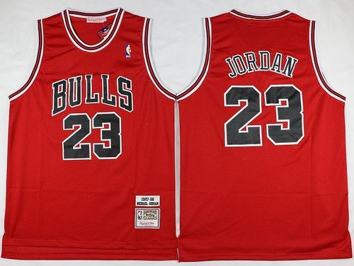 c35ddc38e7e Mitchell and Ness Bulls  23 Michael Jordan Stitched Red Throwback NBA Jersey