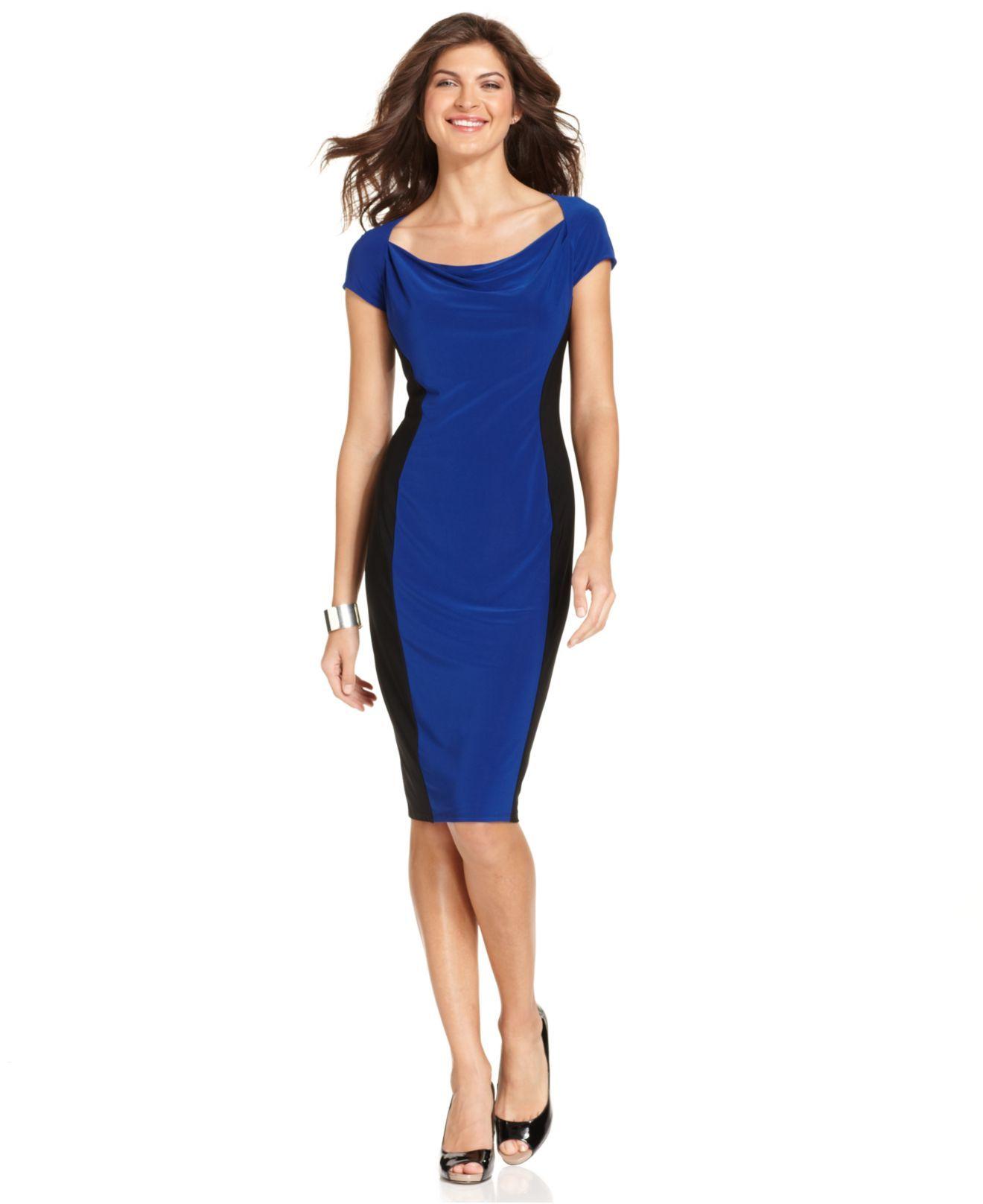 Jones New York Dress CapSleeve Colorblocked Sheath Womens